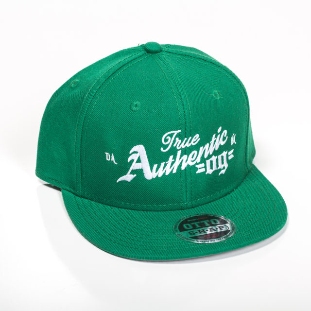 Green Embroidered Snapback hat celebrating the famous OG kush cannabis strain.
